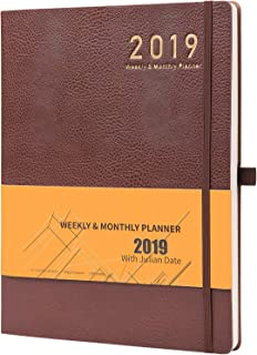 """Planner 2019 with Pen Holder -Academic Weekly, Monthly and Yearly Planner. Thick Paper to Achieve Your Goals, 8.5"""" x 11"""", Back Pocket with Julian Date - Bonus 24 Notes Pages, Gift Box"""