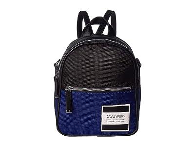 Calvin Klein Kelly Nylon Spliced Mini Backpack (Retro Blue) Backpack Bags