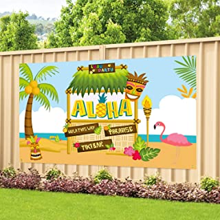 Large Fabric Aloha Party Banner 72''x46'' for Luau Party Supplies, Perfect Decorations for Hawaiian Luau Party, Tiki Theme...