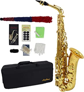 Alto Saxophone Gold Lacquer E Flat Jody Blues JAS-801 Beginner Student Sax with Tuner Mouthpiece Reeds Cloth Rod Gloves Pads Case