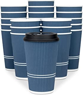 Glowcoast Disposable Coffee Cups With Lids - 16 oz To Go Coffee Cup (80 Set). Large Travel Cups Hold Shape With Hot and Co...