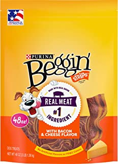 Purina Beggin' Strips Made in USA Facilities Dog Training Treats, Bacon & Cheese Flavors - 48 oz. Pouch