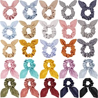 25 Pieces Hair Scrunchies Rabbit Bunny Ear Hair Bands Elastic Scrunchy Bowknot Scrunchies Elastic Hair Ties Ponytail Holder for Girls Women