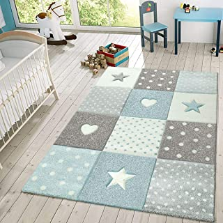 Kids Rug Checkered Patterned with Dots Hearts and Stars...