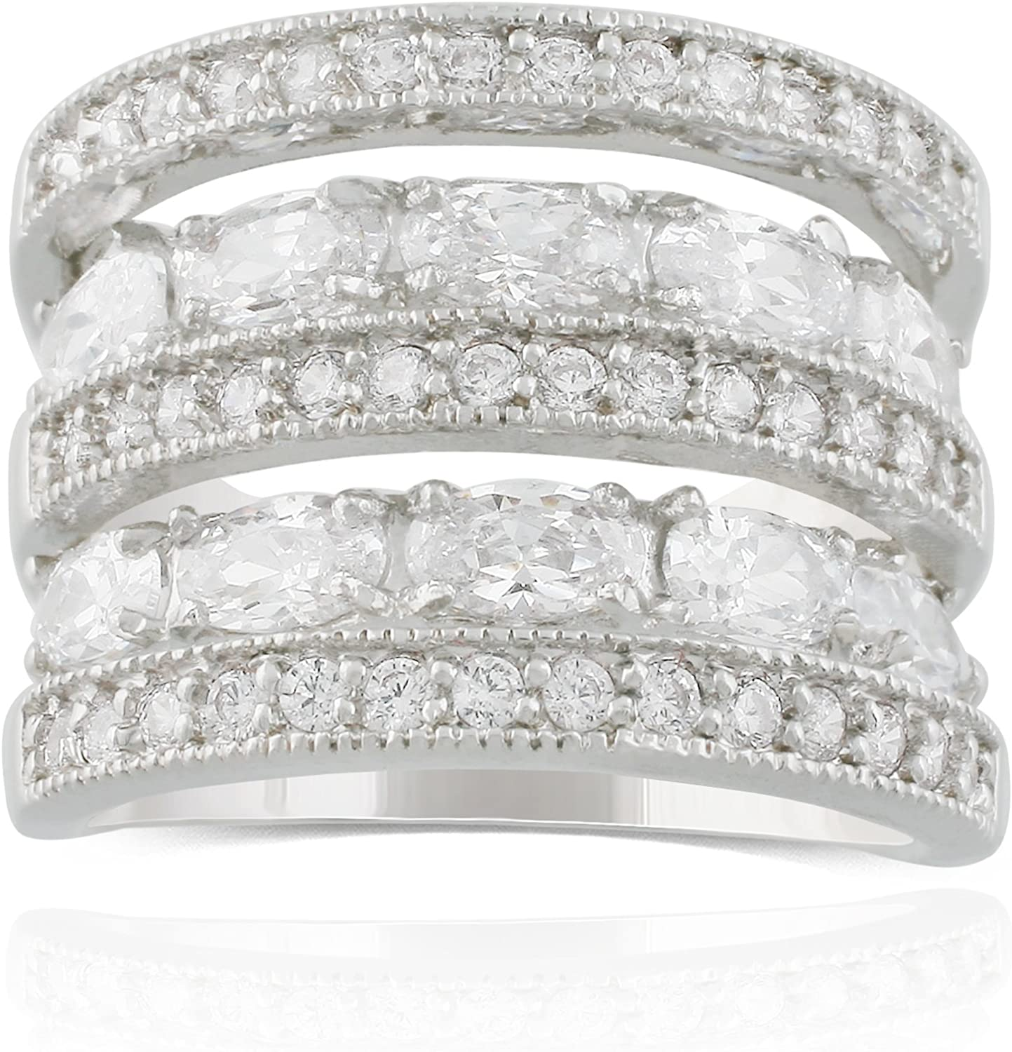JanKuo Jewelry Rhodium Plated Cubic Zirconia Wide Band Cocktail Ring