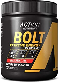 Bolt Extreme Energy Pre Workout Powder Fruit Juicy Red - Sugar Free Preworkout Energy Supplement for Men & Women - 320mg C...