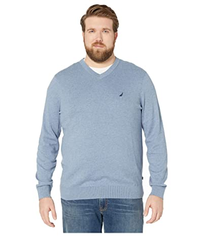 Nautica Big & Tall Big Tall V-Neck Navtech Knit Sweater (Deep Anchor) Men