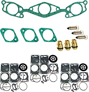 (Compatible With Yamaha) Triple Mikuni Carb Rebuild Kit & Needle/Seat/Gaskets Fits 1995-1996 Wave Raider 1100
