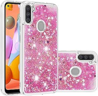 جراب Mylne Liquid لهاتف Samsung Galaxy A11/M11، جراب ذو تصميم برمال متحرك لامع لامع لامع ممتص للصدمات باللون الوردي