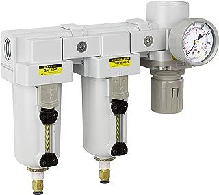 PneumaticPlus SAU4030M-N06DG-MEP Three Stage Air Drying System - Air Particulate Filter, 0.3 Micron Coalescing Filter & Air Pressure Regulator Modular Combo 3/4