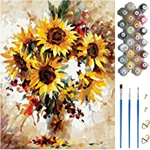 Crafts for Adults Hobby Kits, 40 * 50cm Canvas (Without Frame), 3Pcs Paintbrushes and 24 Colors Paint, Paint by Numbers Ki...