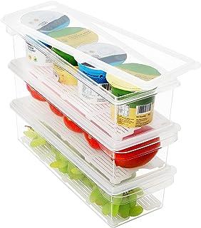 Kurtzy Plast Kylskåpsförvaringsorganisatör med Lock (3 Pack) – Klar BPA Fri, Staplingsbar Kylskåps och Frys Organisatör me...