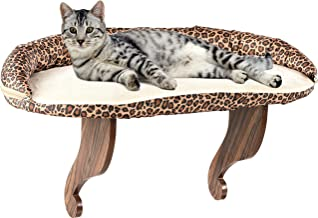 Bundaloo Cat Window Perch | Easy Set-up DIY Kitty Sill | Mounted Shelf Bed for Pets | House Pets Furniture | Sturdy Couch for All Kitten Sizes | Washable Foam Seat (Deluxe Leopard, Large 24