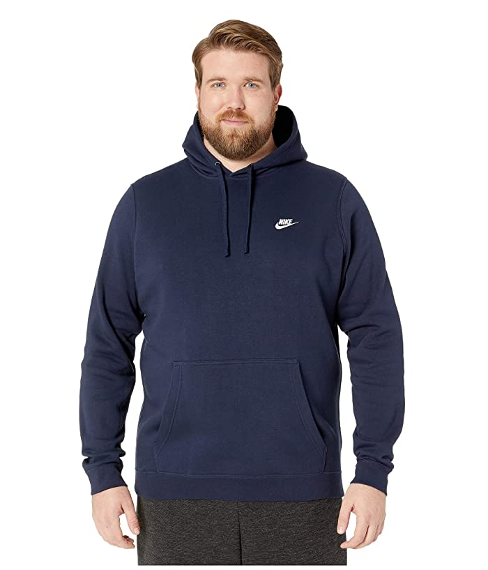 Nike Big Tall Club Fleece Pullover Hoodie (Obsidian/Obsidian/White) Men