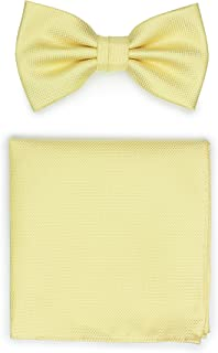 Bows-N-Ties Men's Pre-Tied Solid Bow Tie and Pocket Square Set Matte Micro-Texture Finish