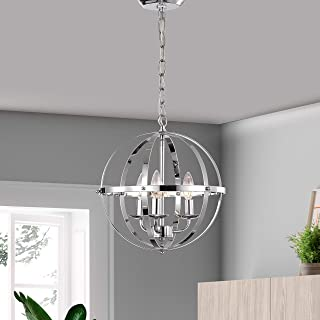 Chandeliers Orb Chandelier Three- Light Pendant Lighting Globe Chandeliers for Foyer Lighting Adjustable Pendant Light Fixtures Chrome Chandelier with UL Listed