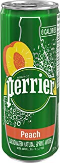 Perrier Carbonated Natural Spring Water with Natural Peach Flavor Slim Can, 250 ml