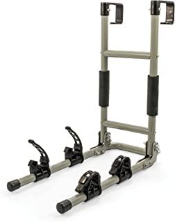 Camco RV Ladder Mount Bike Rack - Easily Installs on Standard RV Ladders, Holds Two Bikes at Once, Folds for Convenient Storage (51492)