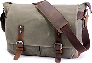SUVOM Mens Messenger Bag, Genuine Leather Canvas Messenger Bag, Waterproof Laptop Messenger Bag For 15.6 inch Laptop,Vintage Satchel Briefcase Cross Body Shoulder Bag For Everyday Use,Travel,Camping