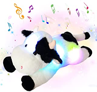 Cuteoy LED Musical Cow Plush Toy Farm Animals Light up Diary Cow with Night Lights Singing Glowing Birthday Gifts for Todd...