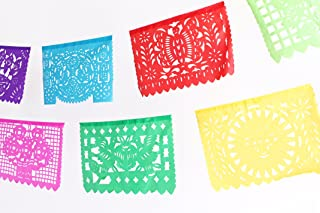 MesaChic Mexican Papel PICADO Banner Plastic Medium 16` feet Long Bunting