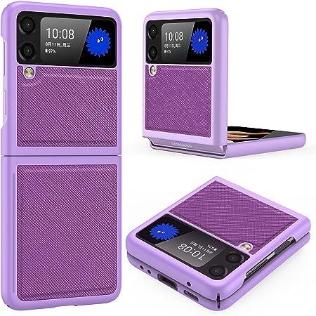 Vizvera Samsung Galaxy Z Flip 3 Case, PC+Cross-Grain Leather Design, Anti-Slip Texture and Anti-Slip Strips on The Inner Wall, Lightweight Durable Impact-Resistant Case for Z Flip 3 5G 2021 (Purple)