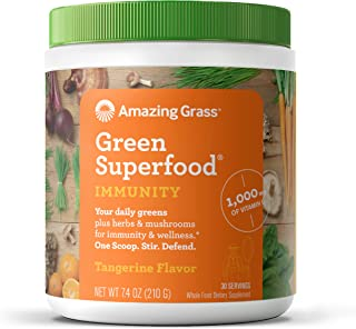 Amazing Grass Green Superfood Immunity: Super Greens Powder with Vitamin C, Cordyceps & Reishi Mushrooms, Tangerine, 30 Se...