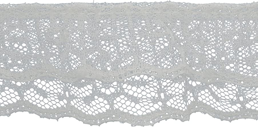 Decorative Trimmings 20151-8-018Y-020 2 Tiered Ruffled Lace Trim 2-1/8