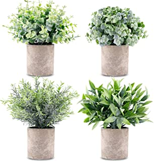 CEWOR 4 Packs Artificial Mini Potted Plants Fake Grey Greenery Eucalyptus Rosemary Boxwood Plastic Centerpiece for Home Of...