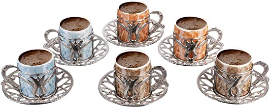 Premium Porcelain Turkish Coffee Cups Set of 6 and Saucers -2.4oz.- Gold Espresso Serving Cup Set, Greek Coffee, Demitasse...
