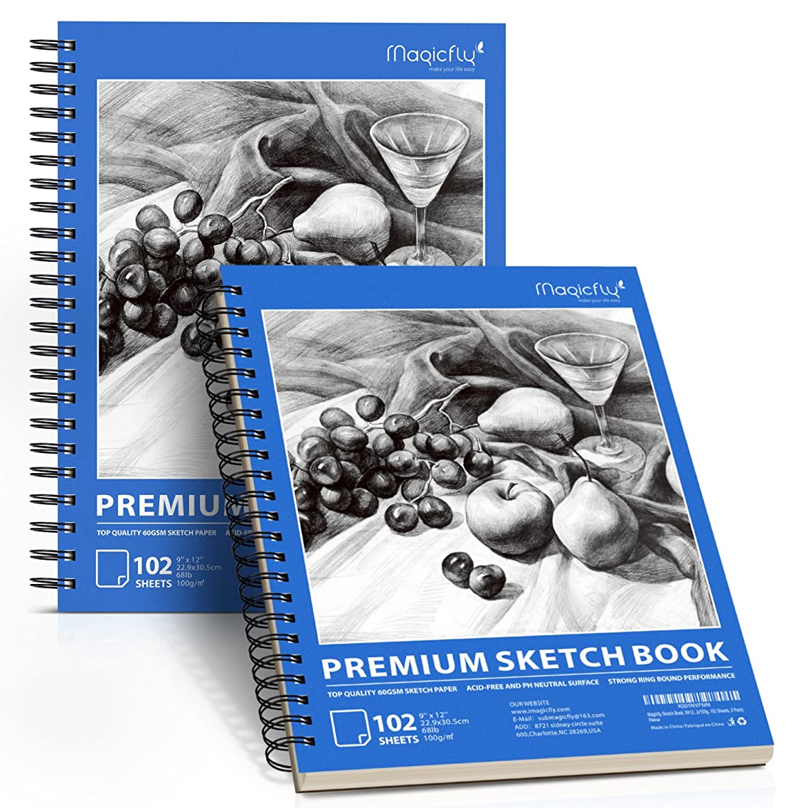 Sketch Book, Magicfly 2 Pack (9X12
