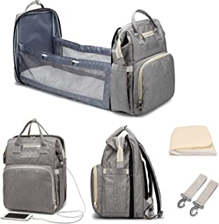 Diaper Bag Backpack with Changing Station,HapHeara Mom Dad Baby Diaper Bag Tote Organizer Pouches for Baby Girl and Boy,Po...