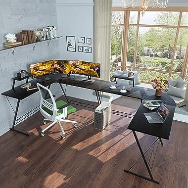 "Casaottima L Shaped Desk, 51"" Gaming Desk, Computer Desk, L Desk, Home Office Desk with Round Corner with Large Monitor S"