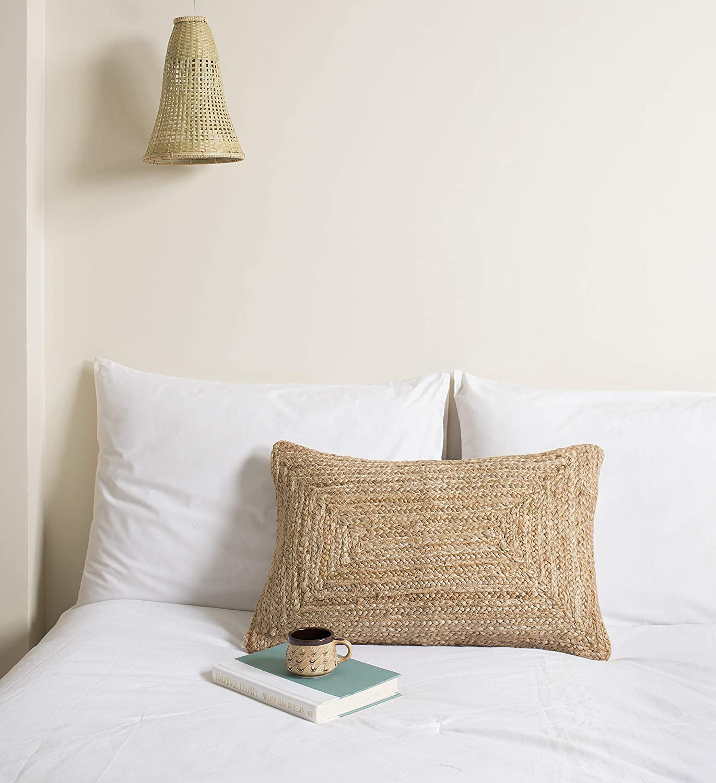 Labhanshi Long-awaited Indian Braided Natural Jute Cushion Woven Hand Department store Pillow