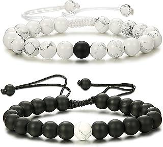 Thunaraz 2 Pcs Distance Bracelets His and Hers Relationship Couple Bracelet Onyx/White Stone Braided Rope