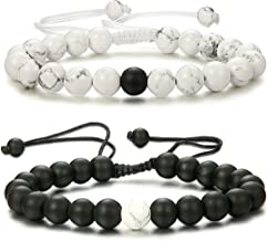Thunaraz 2 Pcs Distance Bracelets His and Hers Relationship Couple Bracelet Onyx/White Stone Braided Rope