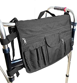 Double Sided Walker Bag Extra Storage Basket Tote Carrying Bag for Folding Walker Rollator Wheelchair and Scooters
