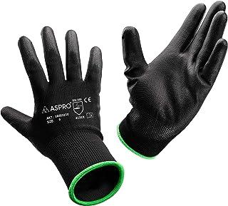 ASPRO Work and Gardening Gloves - Black Nylon PU Coated Workwear Gloves for Builder, Gardener, Mechanic, Construction, War...