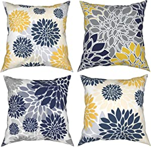Throw Pillow Covers 18 X 18 Set of 4,Navy Blue Gold Oversized Flower Geometry Square Pillow Cushion Cases,Yellow and Gray Floral Modern Decorative Pillow Covers for Couch Sofa Bedroom Car