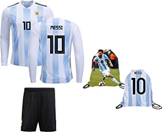 AFA Messi Jersey Argentina Home Long Sleeve Kids Lionel Messi Jersey Soccer  Gift Set Youth Sizes 6310d0ac4
