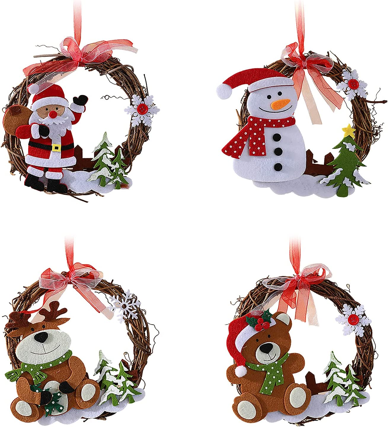 BDSJBJ 4Pcs Shipping included Christmas Wreaths Hanging Wreath Santa Rattan with 5% OFF