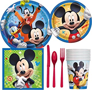 Disney Mickey Mouse Birthday Party Supplies Pack Including Cake & Lunch Plates, Cutlery, Cups, Napkins (8 Guests)