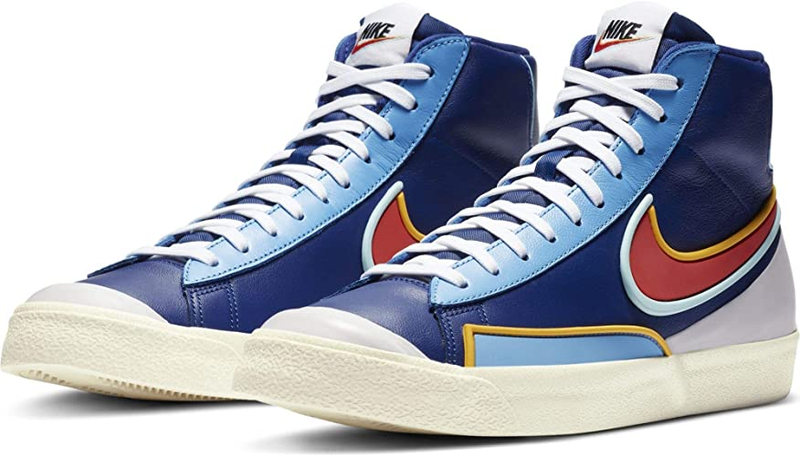 Nike Blazer Mid Chaussures Baskets pour Hommes en Cuir Bleu DA7233 ...