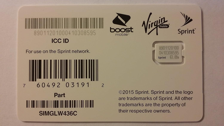 Sprint UICC ICC Nano SIM Card SIMGLW436C - iPhone 5c, 5s, 6, 6 Plus, 6S, 6S Plus, 7, 7 Plus, SE, iPad Air, iPad Air 2