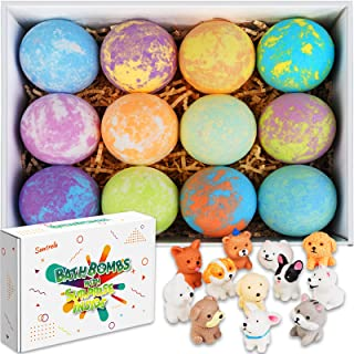 Bath Bombs for Kids with Toys Inside for Girls Boys - 12 Set Surprise Bubble Bath Fizzies, Handmade Kids Safe and Gentle S...