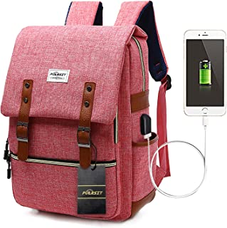 Puersit Laptop Backpack for Women, Vintage 15.6inch Laptop Backpacks College School Backpack with USB Charging Port Stylish Bookbag Canvas Casual Daypack Backpack for Girls/ Business/ Teacher/ Students/ Travel