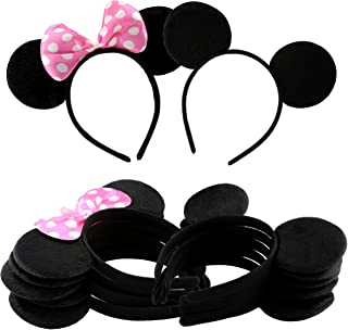 Cornucopia Brands Combo Pack Mouse Ear Headbands (6 w/Bows, 6 w/o, 12-Pack) Mickey & Minnie Style Headband Black