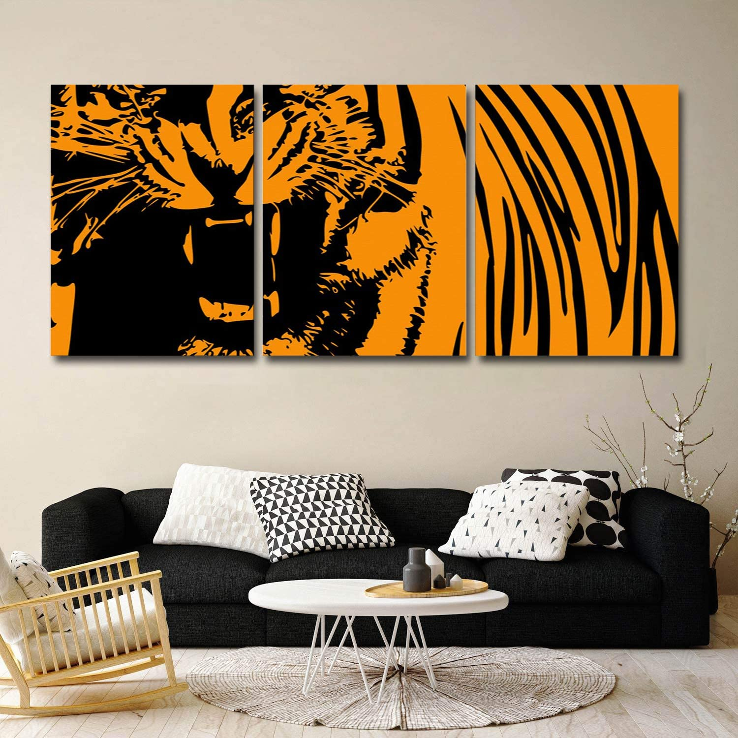 CyCoShower ! Super beauty product restock quality top! 67% OFF of fixed price 3 Panel Oil Paintings on Canvas Orang Animal Art Wall