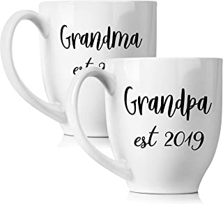New Grandparents Pregnancy Announcement Coffee Mug Set 15oz - Unique Expecting Gift Idea For Grandma and Grandpa To Be - Perfect Reveal Present Baby Showers - Grandmother and Grandfather Gifts