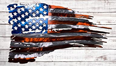 Tattered American Flag Metal Wall Art Made IN USA